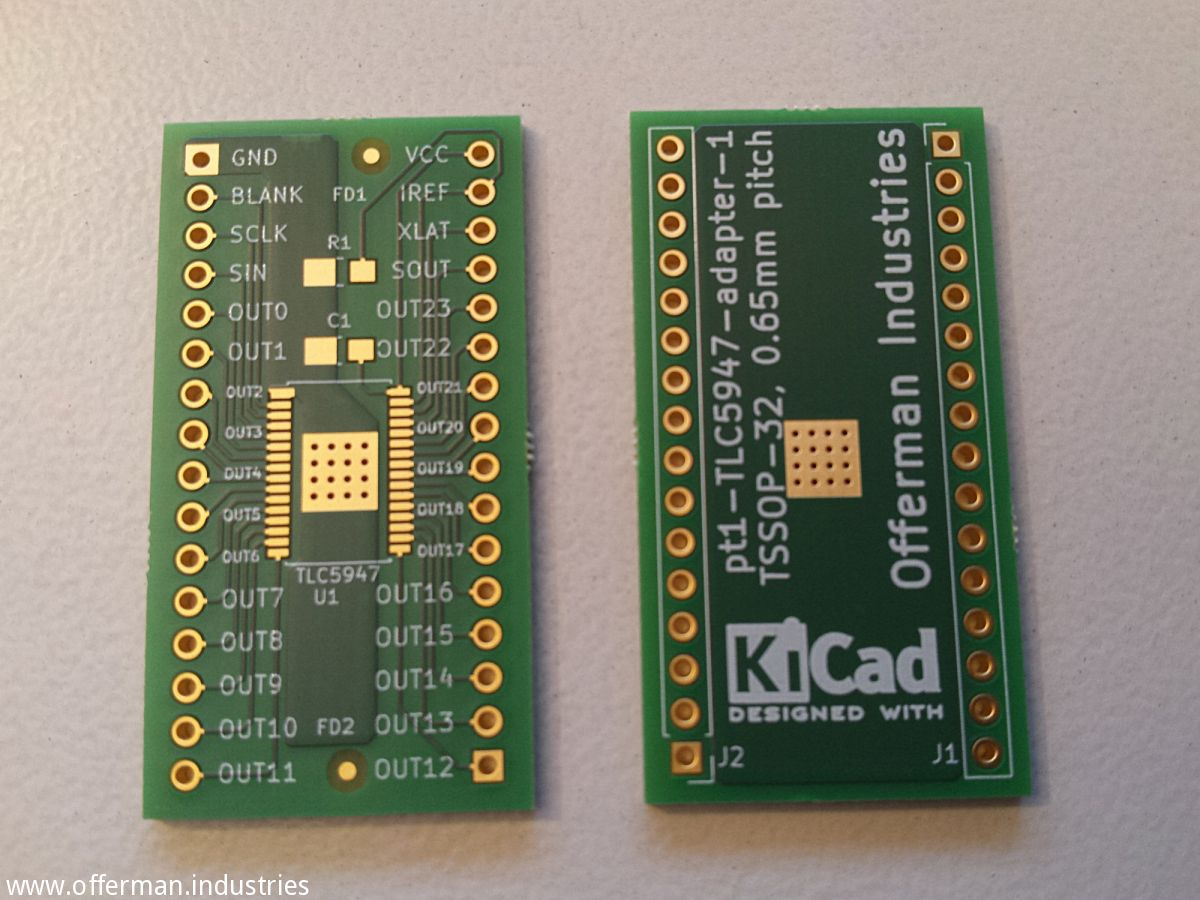 Breakout board for TLC5947 LED driver or other 32 pin HTSSOP