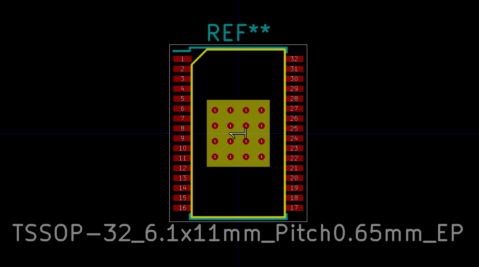 KiCad footprint for TSSOP-32 package, 6 1x11mm size, 0 65mm
